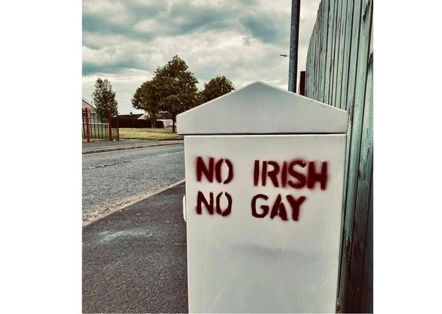 Racist and homophobic sign in Pollock Drive, Lurgan.