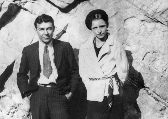 Barrow Gang members Bonnie Parker, pictured here on the right, and William Daniel Jones. Parker was the other half of the notorious Bonnie and Clyde gangster duo who robbed and murdered in the United States during two years until they were shot dead at a police roadblock in Louisiana in May 1934. Picture: AFP/GettyImages