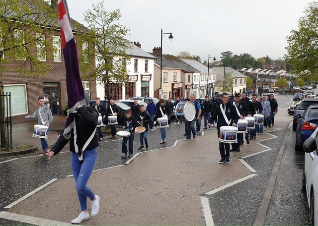 Markethill Protestant Boys Flute Band on parade in the village on May 3.