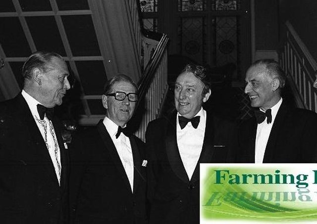 Pictured at the Northern Ireland Grain Trade Association annual dinner at the Culloden Hotel, Holywood, in April 1980 are: Mr S G Saint, right, with, from left, Mr F R Alexander, president, GAFTA, Mr J G Keeling, UKASTA, Mr W E Stitt, GTA chairman, and Dr James Young, head of Northern Ireland Department of Agriculture. Picture: Farming Life archives