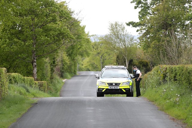 Police on the Irish Hill Road outside Ballyclare.Photograph by  Declan Roughan / Press Eye