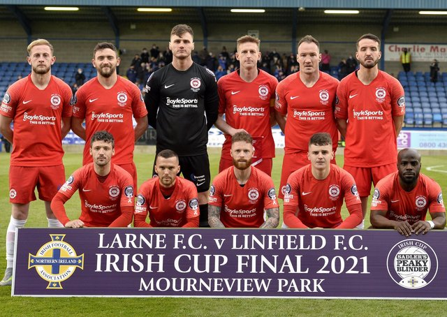Larne players line out before Friday's Irish Cup final against Linfield. Pic by PressEye Ltd.
