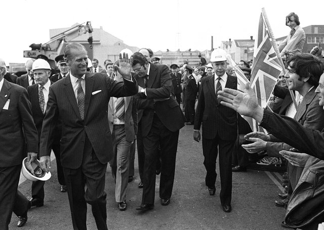 Duke of Edinburgh visiting Harland and Wolff during the Jubilee visit in July 1977. Picture: Pacemaker