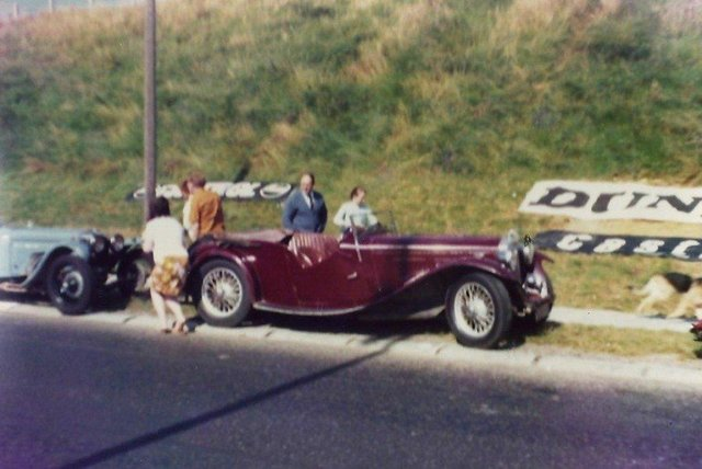 Race enthusiasts inspect the cars at Ards TT, part of Ulster '71