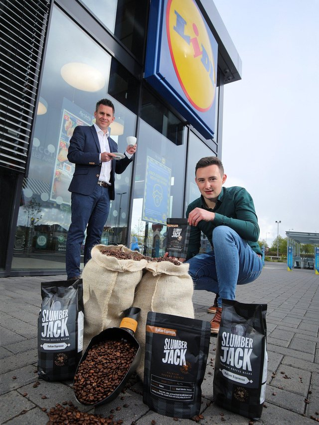 Gary Murray, Head of Buying at Lidl Ireland and Lidl NI with Alf Walker, Business Development Manager at SlumberJack Coffee