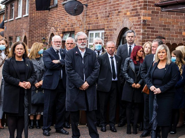 Pictured left to right, Mary-Lou McDonald (Sinn Fein President); Gerry Adams (former Sinn Fein President) and Michelle O'Neill (deputy First Minister and Sinn Fein vice-President).