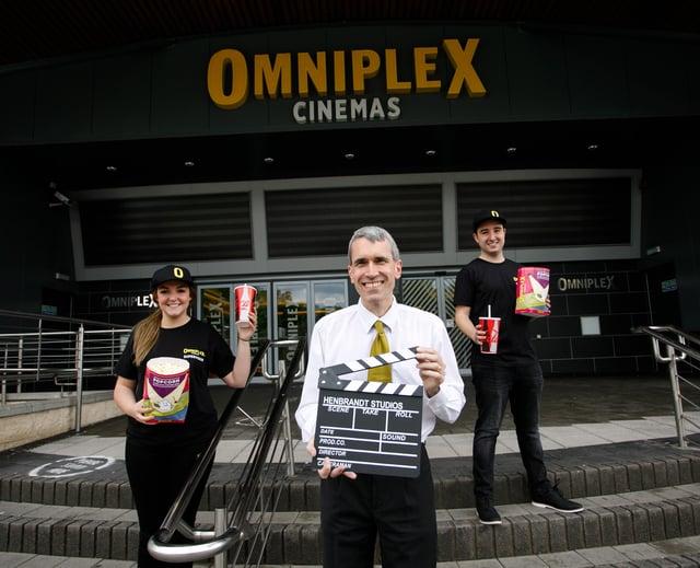 Supervisor of Omniplex Cinema Lisburn, Sophie Easton, Manager Chris Gaston and Supervisor Nathan Bracken