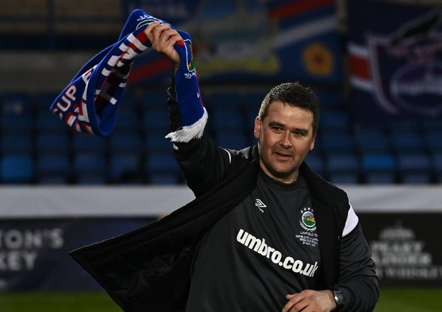 Linfield boss David Healy during Friday's Irish Cup celebrations. Pic by Pacemaker.