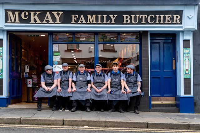 Father and Son, Sean and Fergal (centre) are flanked by their team of local butchers