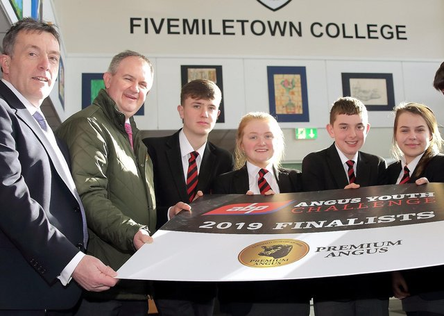 Pictured the team from Fivemiletown College, who were 2021 Runners-up in the competition against the three other finalist teams - Mark Hoey, Ester Robinson, Alan Kelly, Megan Roberts and Jonathan Cowan, with George Mullan, Managing Director ABP Northern Ireland Charles Smith, Angus Producer Group, and teacher Andrea McNeary