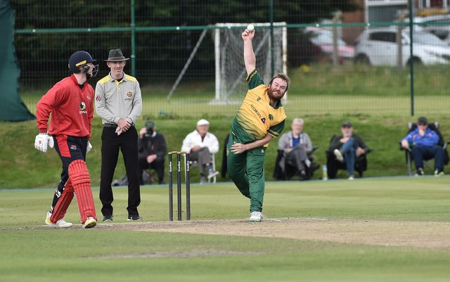 North Down's Paul Stirling bowls last season's Robinson Services Cup final against Waringstown.Pic Colm Lenaghan/Pacemaker