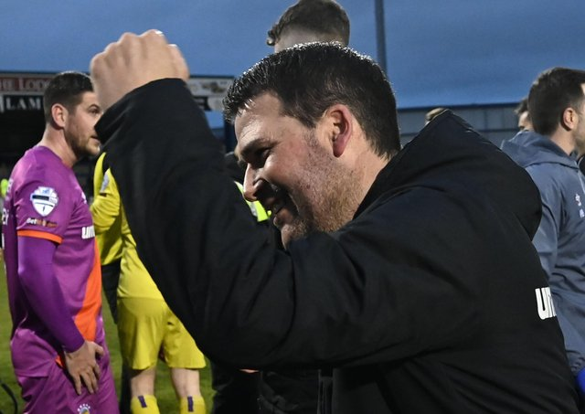 Linfield boss David Healy following the final whistle in Coleraine. Pic by Pacemaker.