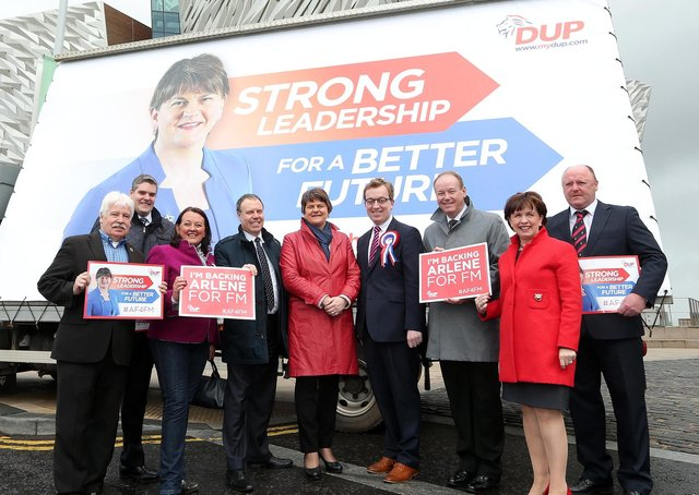Sammy Douglas, far left, pictured with Arlene Foster during the 2016 Assembly election campaign