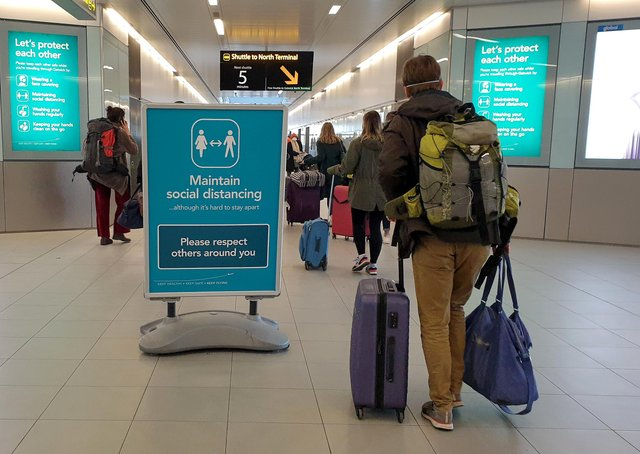 Airport. Vaccine passports could be necessary for international travel