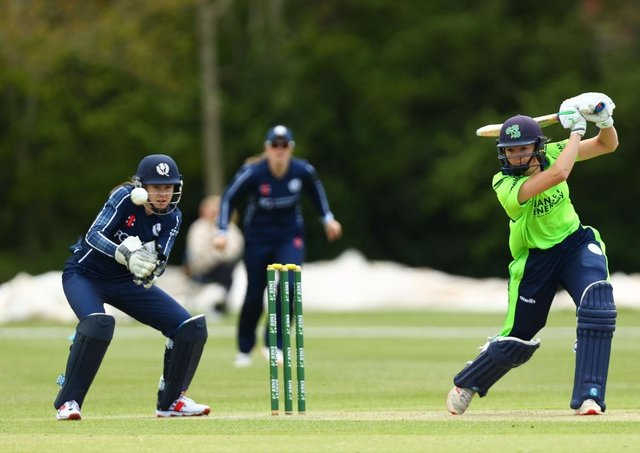 Gaby Lewis bats for Ireland at Stormont.
