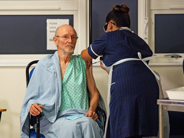 """""""Bill"""" William Shakespeare, 81, received the Pfizer/BioNTech Covid-19 vaccine at University Hospital, Coventry, at the beginning of December last year."""