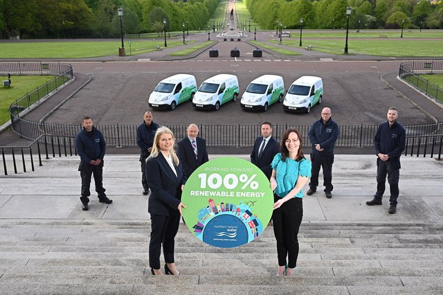 Nichola Mallon, Infrastructure Minister with CEO of NI Water, Sara Venning, Des Nevin, Director of Customer Operations, NI Water and Michael Walker, Charles Hurst Nissan, with Electric Van drivers