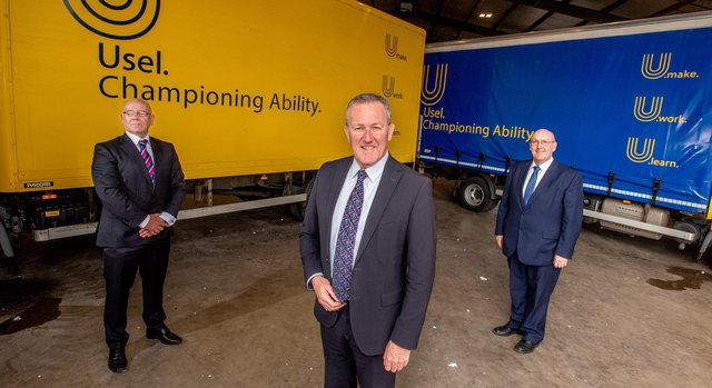 Finance Minister Conor Murphy with Usel Chief Executive Bill Atkinson and Chairman William Leathem