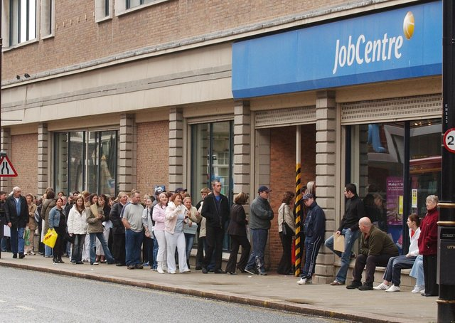 A queue outside a jobless centre in England before the pandemic. Deaths from unemployment and poverty caused by lockdown are often viewed as just a statistic but it is estimated that the 2008/9 financial crisis led to a million people contracting chronic health problems