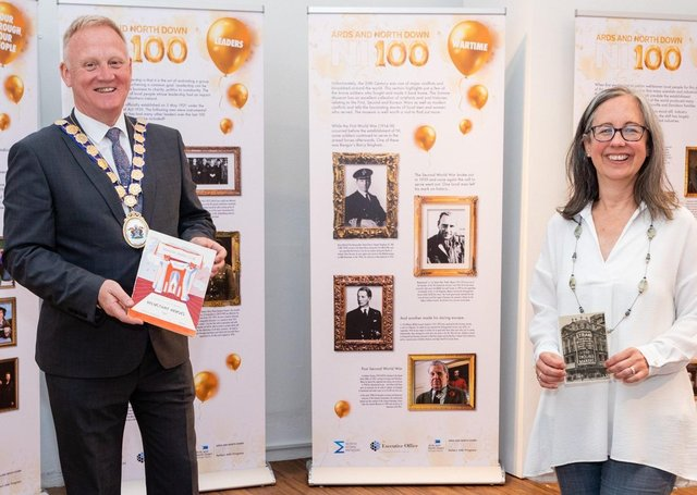 The Mayor of  Ards and North Down Councillor Trevor Cummings with North Down Museum Manager, Heather McGuicken pictured with the 'NI100: Our Borough, Our People' Exhibition