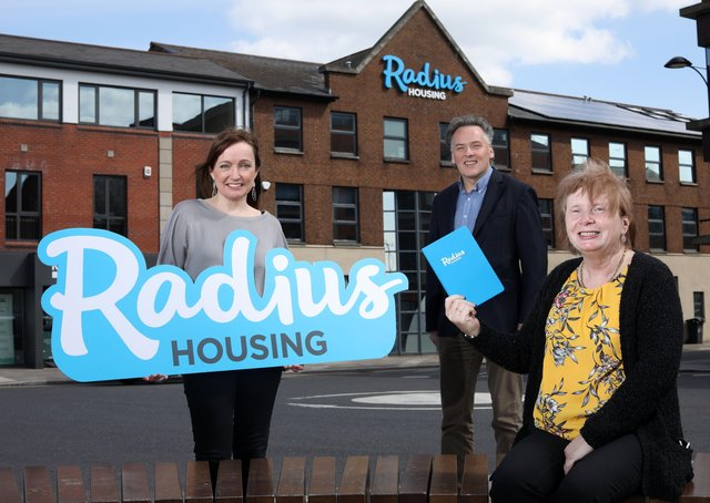 inbt Radius Short Story Competition  Winner Marie Bradley with CE John McClean & Melanie Rintoul from Community  Investment Team