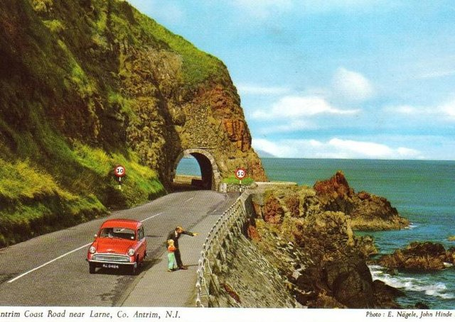 An old postcard showing the Red Arch, Antrim Coast Road. Picture: Ballymena Times archive