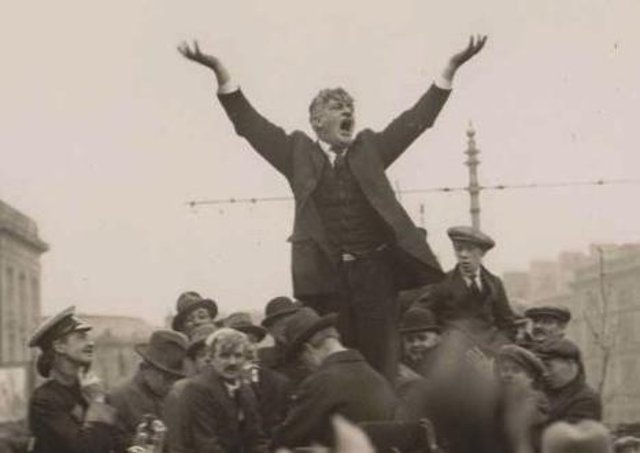 The Socialist agitator James Larkin during the Dublin lockout in 1913. Picture: News Letter archives