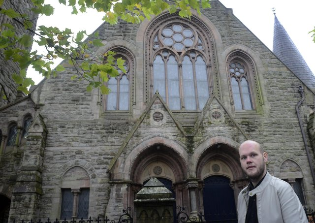 Assistant Minister Jonathan Abernethy-Barkley pictured outside Fitzroy Presbyterian Church, University Street, Belfast, in October 2014. Picture: Colm Lenaghan/Pacemaker Press