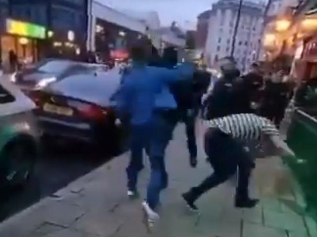 """A violent brawl breaks out as a doorman says to two men from Northern Ireland to """"go back where you f*****g came from""""."""