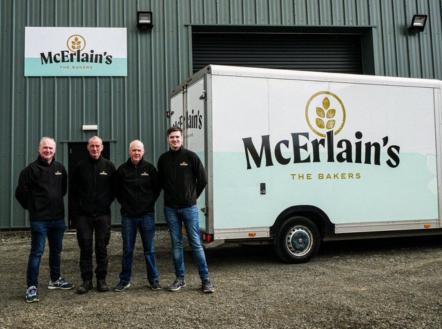McErlain brothers, Master Bakers John and Seamus and Sales Manager Paul alongside John's son Peter