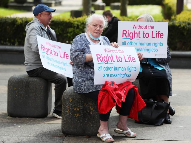 Anti abortion demonstrators outside Belfast High Court as a legal challenge against Northern Ireland Secretary of State Brandon Lewis, the Northern Ireland Executive and the Department of Health over the failure to commission and fund abortion services in Northern Ireland continues.