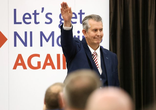 Edwin Poots pictured at the Crowne Plaza Hotel in Belfast as his election as leader of the DUP was eventually ratified. Photo by Kelvin Boyes / Press Eye