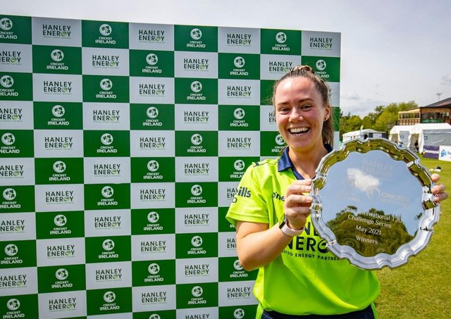 Ireland Women captain Laura Delaney celebrates the T20 series victory over Scotland at Stormont.