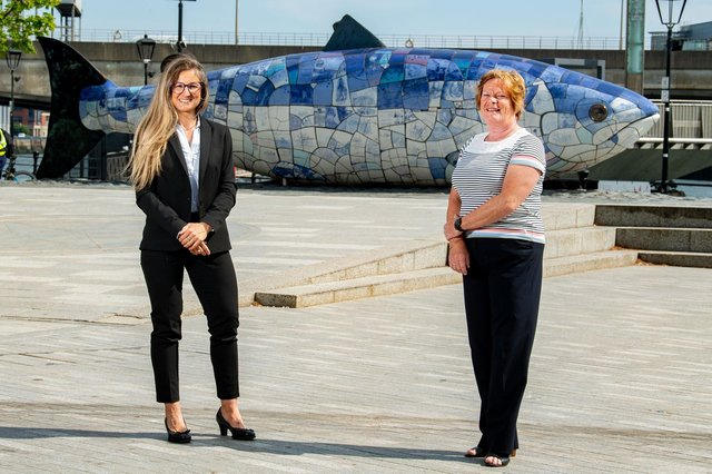 Rita Malosti, Head of Space Activities at Skytek with Dr Vicky Kell, Director of Innovation, Research and Development, Invest NI