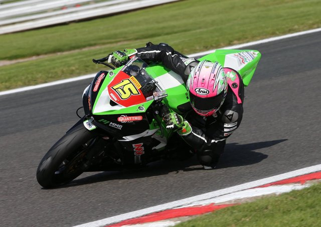 Eugene McManus on the Affinity Sports Kawasaki in the Pirelli National Superstock 600 Championship. Picture: David Yeomans.
