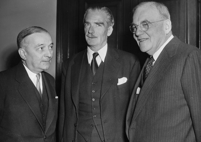 Former French PM Georges Bidsult, with Anthony Eden and John Foster Dulles, US Secretary of State, far right. Picture: Dutch National Archives
