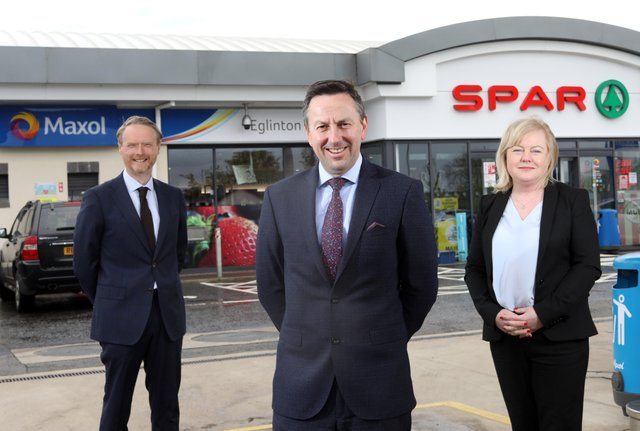 Kevin Paterson, Regional Manager NI, Brian Donaldson, CEO of The Maxol Group and Val Rodden, Licensee of Maxol Eglinton