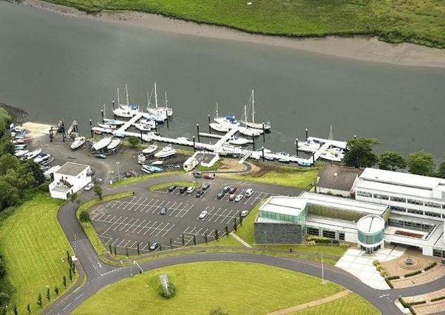 An aerial view of the Causeway Coast and Glens council headquarters at Cloonavin, Coleraine
