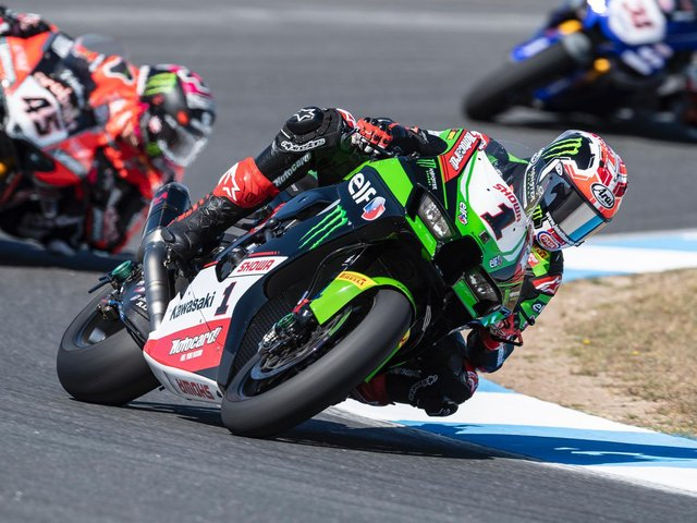 Jonathan Rea finished third in the opening World Superbike race of the weekend at round two of the championship at Estoril in Portugal.