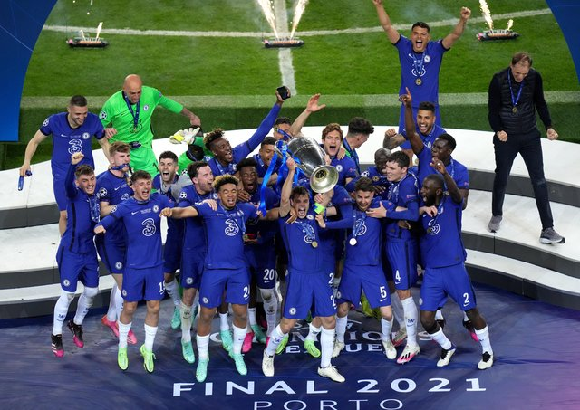Chelsea celebrate with the Champions League trophy after beating Manchester City 1-0 in the final in Porto on Saturday.