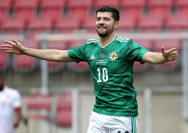 Jordan Jones celebrates his goal for Northern Ireland. Pic by PressEye Ltd.