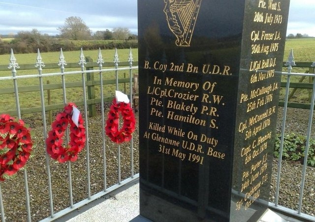 A memorial in Co Armagh to those killed in the 1991 Glenanne barracks bombing by the IRA. Image courtesy of Ancre Somme Association