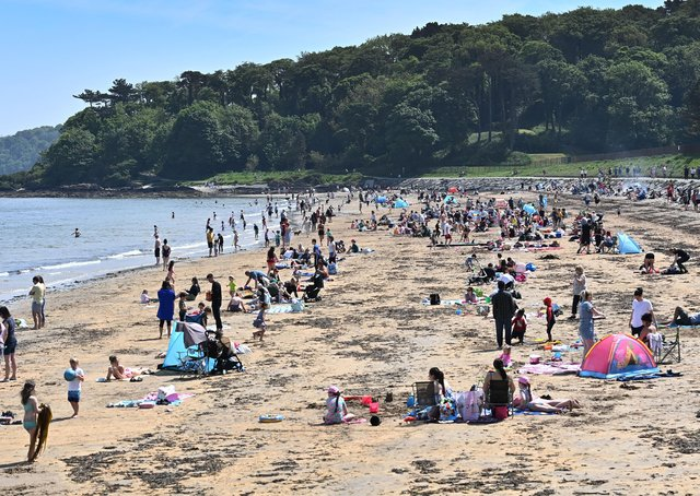 Crowds gather at Helen's Bay beach on May bank holiday Monday.Pic: Colm Lenaghan/Pacemaker
