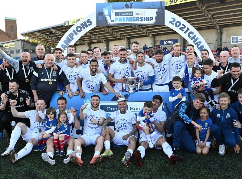 Linfield celebrate with the Gibson Cup. Pic by Pacemaker.
