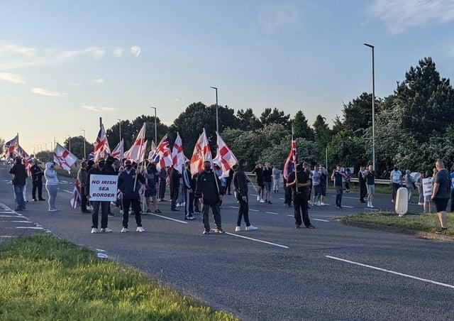 Loyalist anti-NI Protocol protest in Bangor on Monday