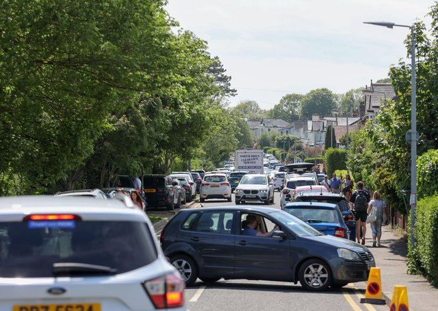 Traffic at Helen's Bay, Co Down on bank holiday Monday.Picture: Philip Magowan / PressEye
