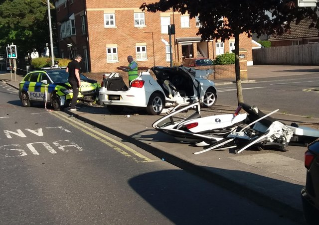 The aftermath of a crash on Monday evening between a police car and another car on the Upper Newtownards Road at Rosepark, near Dundonald, opposite the Stormont estate