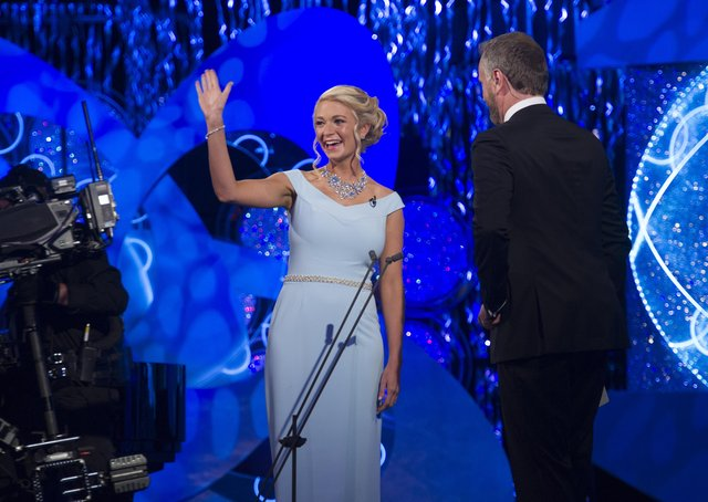 Longford Rose Daphne Howard on stage with Dáithí O Sé during the RTE Rose of Trealle International selection  at the Rose of Tralee International Festival.  Photo By : Domnick Walsh / Eye Focus