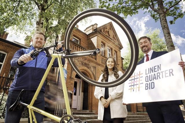 Josh Murray, Northern Ireland Engagement Officer at Cycling UK, Jenna Parker, Community Manager at Ormeau Baths and Chris McCracken, Managing Director at LQ BID