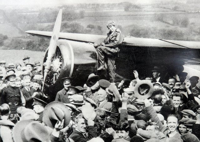 Amelia Earhart landing in Londonderry in May 1932. Picture: Londonderry Sentinel archives